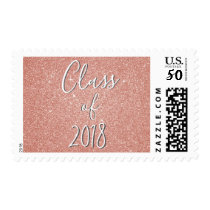 Class of 2018 Pink Rose Gold Graduation Postage