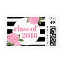 Class of 2018 Pink Roses Black   White Stripe Postage