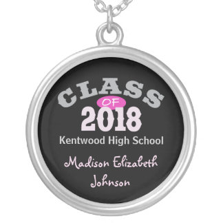 Class Of 2018 Pink Silver Plated Necklace