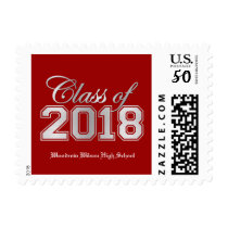 Class of 2018 Premium Red / Silver Graduation Postage
