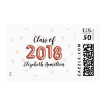 Class of 2018 Rose Gold Balloon Numbers Graduation Postage