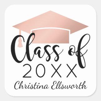 Class of 2018 | Rose Gold Cap Graduation Square Sticker
