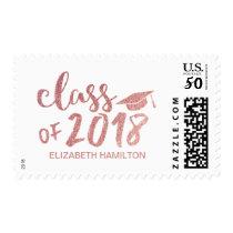 Class of 2018 Rose Gold Glitter Script Graduation Postage