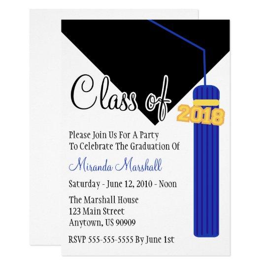 Class of 2018 tassel graduation invite blue zazzle class of 2018 tassel graduation invite blue filmwisefo