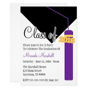 purple graduation tassel invitations announcements zazzle