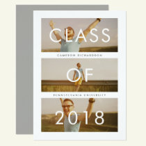 Class of 2018 | Three Photo Graduation Party Invitation