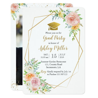 Class of 2018 Watercolor floral photo card