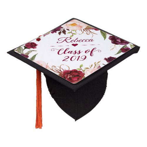 Class of 2019 Burgundy Blush Floral Graduate Graduation Cap Topper