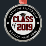 "Class of 2019 Burgundy Red Graduate Graduation Metal Ornament<br><div class=""desc"">Congratulations class of 2019!</div>"