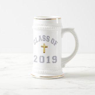 Class Of 2019 Christian Cross - Grey 2 Beer Stein