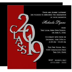 Class Of 2019 Grad Red And Black Invitation
