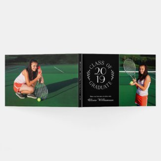 Class of 2019 Graduate Black 2 Photo Graduation Guest Book