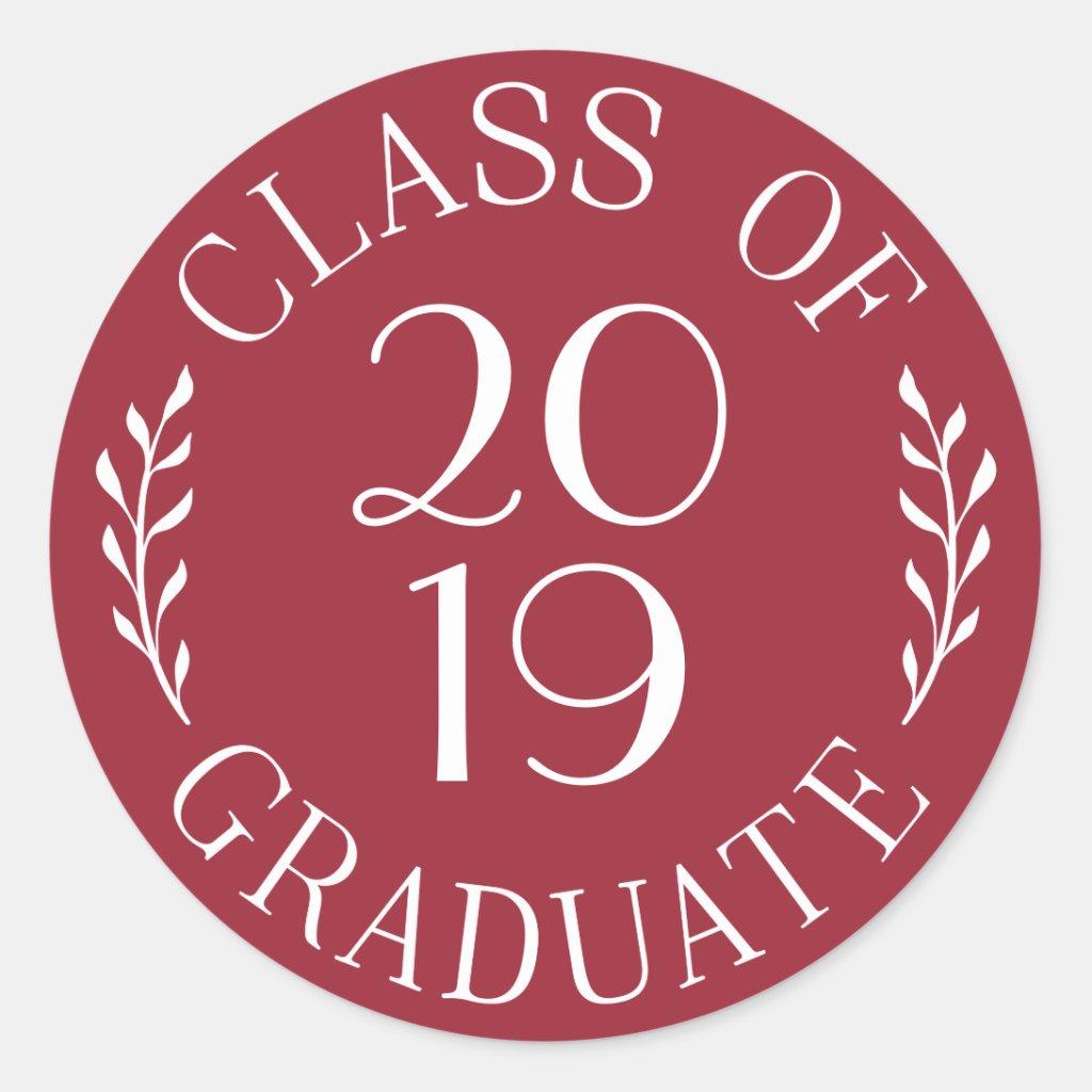 Class of 2019 Graduate Chic Burgundy White Emblem Classic Round Sticker