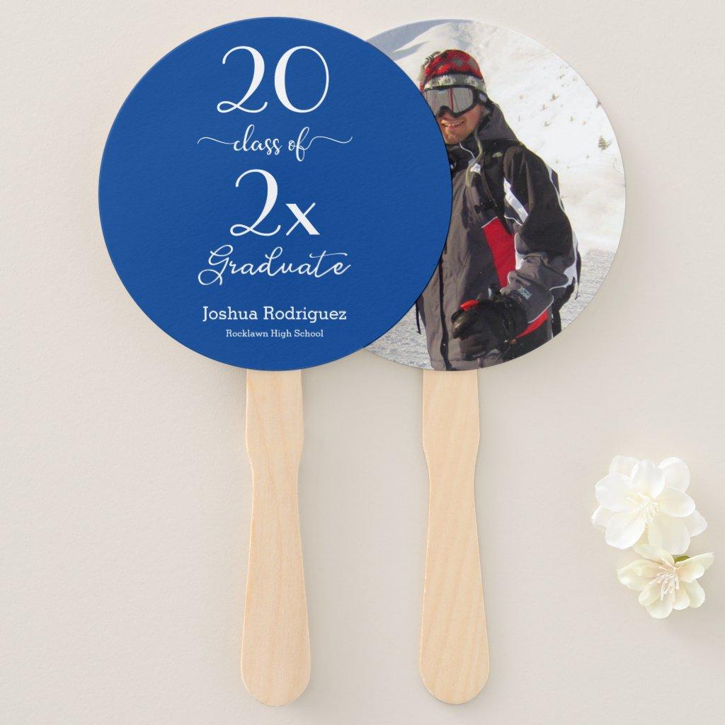 Class Of 2019 Graduate Photo Blue Custom Color Hand Fan