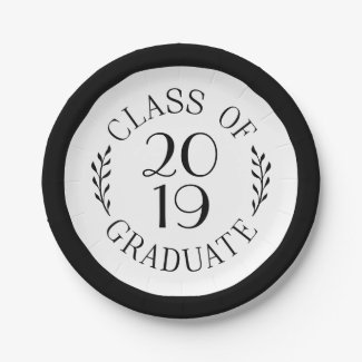 Class Of 2019 Graduate Typography Black Border Paper Plate