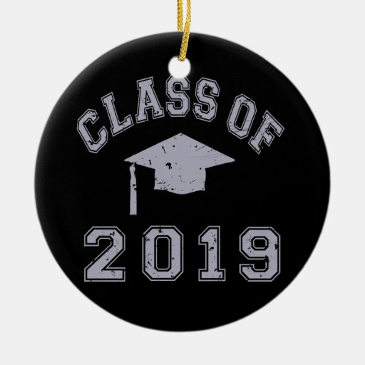 Class Of 2019 Graduation - Grey Double-Sided Ceramic Round Christmas Ornament