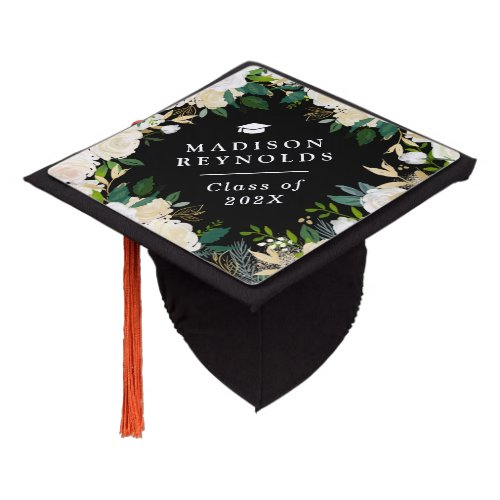 Class of 2019 Ivory Green Gold Floral Graduate Graduation Cap Topper