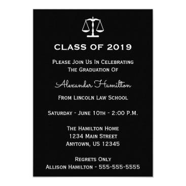 Class Of 2019 Scales Graduation Invitation (Black)