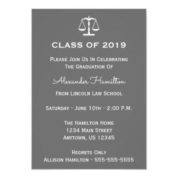 Class Of 2019 Scales Graduation Invitation (Gray)