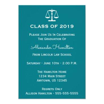 Class Of 2019 Scales Graduation Invite (Turquoise)