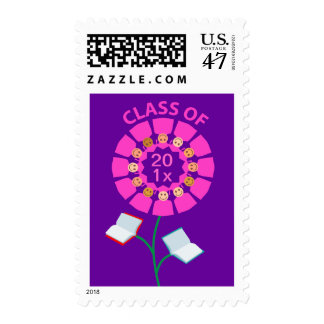 Class of 201x Pink Flower Postage Stamp