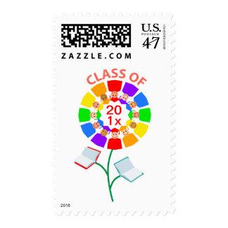 Class of 201x Rainbow Flower Postage