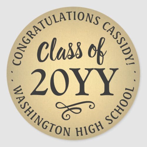 Class of 2020 Black and Gold Faux Foil Graduation Classic Round Sticker
