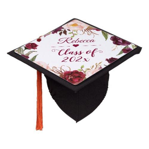 Class of 2020 Burgundy Blush Floral Graduate Graduation Cap Topper