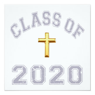 Class Of 2020 Christian Cross - Grey 2 Invitation