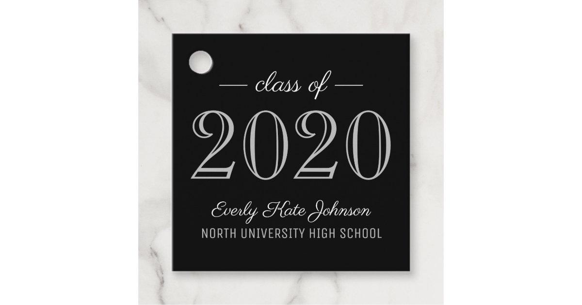 Graduation Party 2020.Class Of 2020 Elegant Silver Graduation Party Favor Tags Zazzle Com