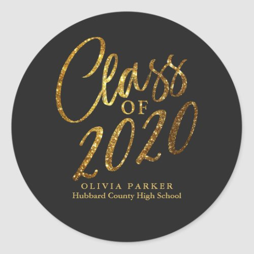 Class of 2020 Gold Black Graduation Party Favor Classic Round Sticker