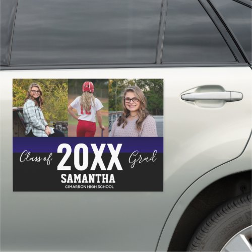 Class of 2020 Grad 3 Photo Collage Blue Car Magnet