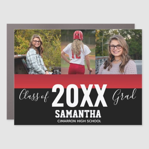 Class of 2020 Grad 3 Photo Collage Car Magnet