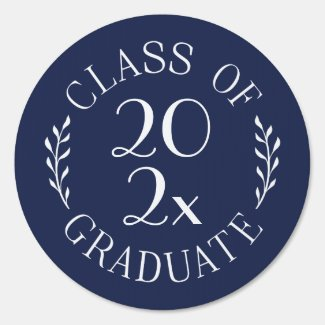 Class of 2020 Graduate Chic Navy Blue White Emblem Sign