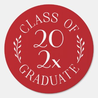 Class of 2020 Graduate Chic Red White Emblem Sign