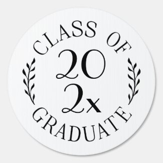 Class of 2020 Graduate Chic White Black Emblem Sign