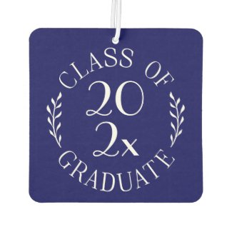 Class of 2020 Graduate Chic White Emblem on Navy Air Freshener