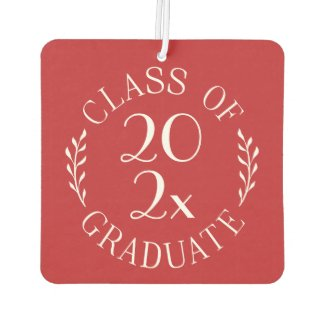 Class of 2020 Graduate Chic White Emblem on Red Air Freshener