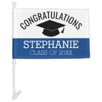 Class of 2020 Graduate - Graduation Cap Blue Black Car Flag