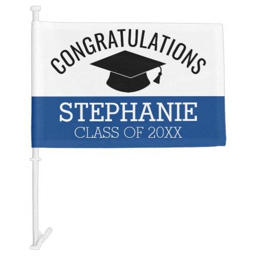 Class of 2020 Graduate _ Graduation Cap Blue Black Car Flag