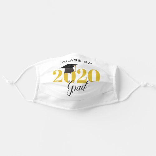 Class of 2020 Graduate  Modern Gold and Black Cloth Face Mask