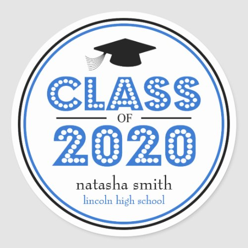 Class Of 2020 Graduation Favor Blue  Black Classic Round Sticker