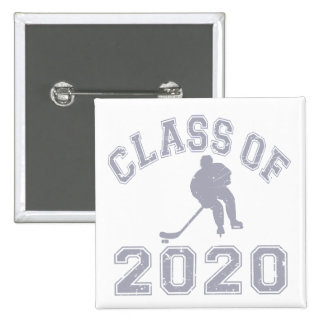 Class Of 2020 Hockey - Grey 2 Inch Square Button