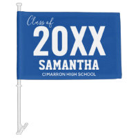 Class of 2020 Name and School Blue Car Flag