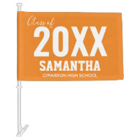 Class of 2020 Name and School Orange Car Flag