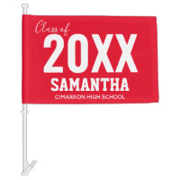 Class of 2020 Name and School Red Car Flag