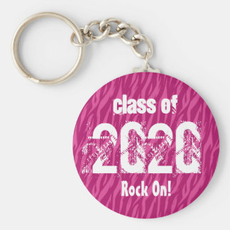 Class of 2020 or Any Year Graduation Pink Zebra Keychains