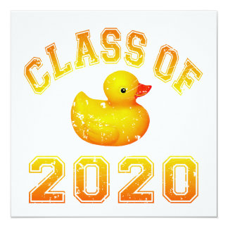 Class Of 2020 Rubber Duckie - Yellow Invitation