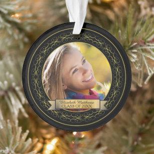 SLobyy 3 Inch Christmas Ornament Xmas Ornament Keepsake Gift Class of 2021 Graduation Photo Maroon Gold Ceramic Ornament