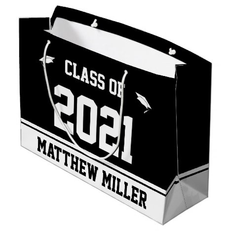 Class of 2021 and Name on Black and White Template Large Gift Bag